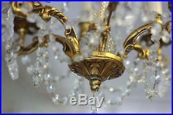 Lustre de style Louis XVI monture bronze fût verre