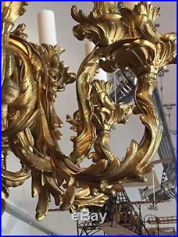 Lustre de style rocaille Louis XVI bronze doré vers 1900