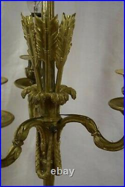Lustre en bronze doré, modèle au carquois, 3 feux, style Louis XVI