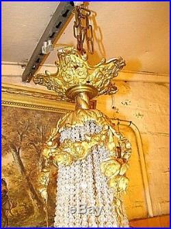 Lustre montgolfière à 8 lampes en bronze et cristal style Louis XVI, début XXème