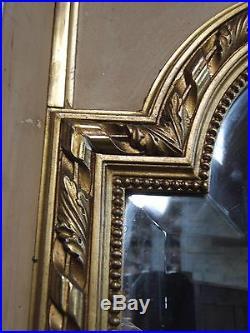 MIROIR GLACE BISEAUTE STYLE LOUIS XVI DORURE A LA FEUILLE D'OR XIXé