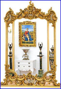 MIROIR LOUIS XV XVI 124x88cm CADRE DORE STYLE BAROQUE ROCOCO GLACE DE CHEMINEE