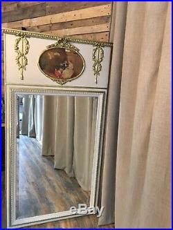 Magnifique Trumeau ancien style Louis XVI bois doré décor scéne galante