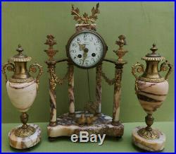 Magnifique pendule a colonnes époque 1900 style louis XVI Parfait état H 42 cm