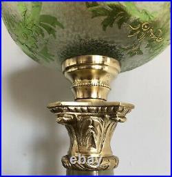 Magnifique rare LAMPE A PETROLE 1900 Cristal de SAINT-LOUIS Style Louis XVI XIXe