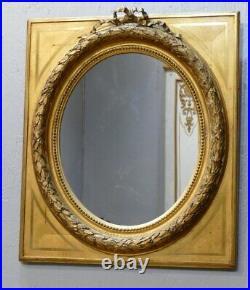Maison Souty, Cadre Miroir En Bois Doré Forme Médaillon Style Louis XVI, XIX ème