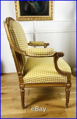 Marquise / Banquette D'époque Napoléon III En Bois Doré De Style Louis XVI