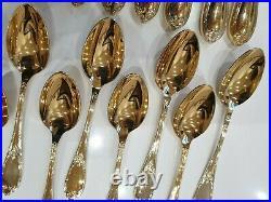 Ménagère FELIX FRÈRES 109 +12 pièces en métal argenté doré style Louis XVI n°826