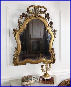 Miroir Ancien De Style Louis XVI En Bois Doré Et Sculpté Avec Glace Au Mercure