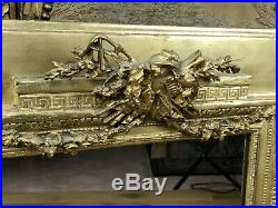 Miroir Ancien Du 19 Eme En Bois Et Stuc Doré De Style Louis XVI 69 CM X 58 CM