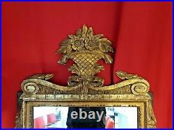 Miroir Ancien en bois doré, patiné style Louis XVI, XIX ème s