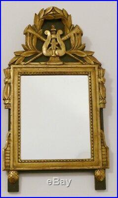 Miroir De Style Louis XVI En Bois Sculpté Et Doré, Modèle à La Lyre, époque XIX