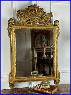 Miroir Du XIXe En Bois DorÉ De Style Louis XVI Fronton À DÉcor Bouquet De Fleurs