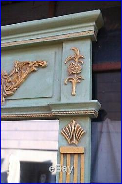 Miroir Piliers Style Louis XVI Vert Et Doré 112x83cm Glace D'un Chteau À Bx