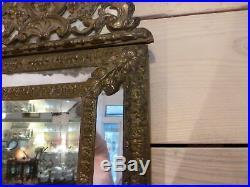 Miroir à parclose de style Louis XVI verre et cuivre milieu 19ème siècle