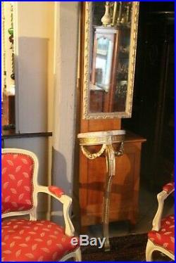 Miroir d'entre deux avec console demi-lune plateau marbre de style Louis 16