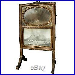 Miroir psyché trumeau XIXème de style Louis XVI en bois polychrome