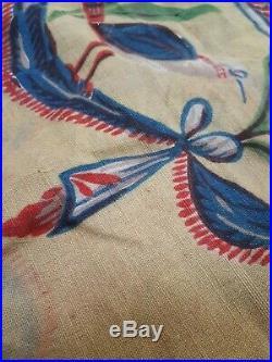 Old textile ancien indiennes style Louis XVI oiseaux fleurs coton imprimé XIXe