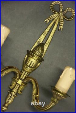 PAIRE D'APPLIQUES AUX NOEUDS STYLE LOUIS XVI BRONZE 28 cm