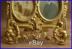 PAIRE DE CADRES PORTE PHOTO TRIPLE VUES EN BRONZE DORÉ STYLE LOUIS XVI XIXe