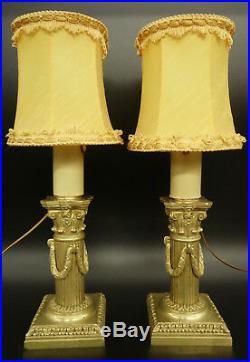 PAIRE DE LAMPES BOUGEOIRS, STYLE LOUIS XVI, FIN XIXe BRONZE