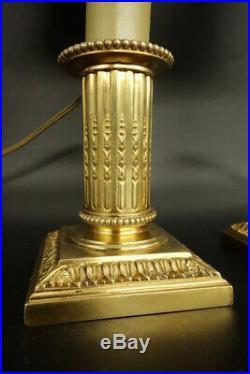 PAIRE DE LAMPES BOUGEOIRS, STYLE LOUIS XVI, FIN XIXe CAILAR BAYARD BRONZE