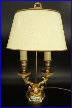 PAIRE LAMPES BOUILLOTTE, STYLE LOUIS XVI LUCIEN GAU, PARIS BRONZE 35,2 cm