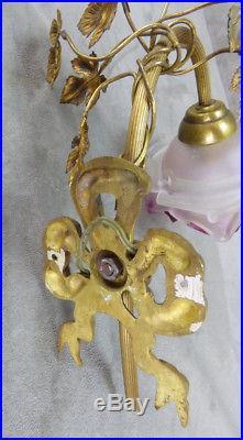 Paire Appliques, Feuilles & Noeuds, Style Louis XVI Lucien Gau, Paris Bronze