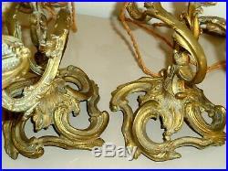 Paire Chandelier 3 Branches Lampe Bronze Rocaille Anciens Style Louis XVI