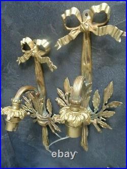 Paire D'appliques, Anciennes Noeuds, Style Louis XVI Bronze