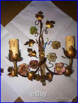 Paire D'appliques Aux Fleurs, Style Louis XVI Napoleon III Bronze