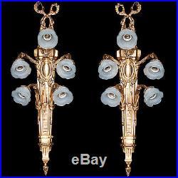 Paire D'appliques En Bronze Style Belle Epoque Louis XVI Napoleon Lampes