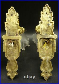 Paire D'appliques, Style Louis Xvi, Début 1900 Bronze & Verre
