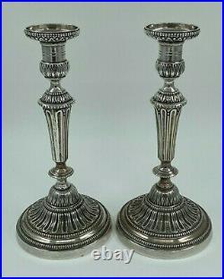 Paire De Bougeoires Bronze Argente XIX Eme Style Louis XVI Palmette Perle H2587