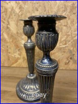 Paire De Bougeoirs Ancien, Flambeaux Metal Argente Style Louis Xvi, Xixeme