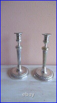 Paire De Bougeoirs Metal Argente Style Louis XVI