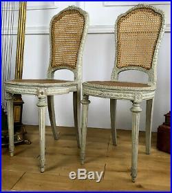 Paire De Chaises Cannées De Style Louis XVI En Bois Laqué Epoque Napoleon III