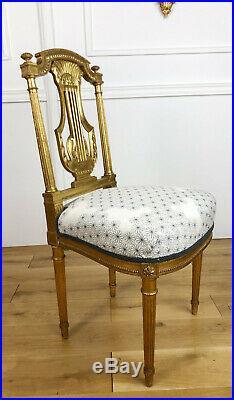Paire De Chaises D'époque Napoléon III En Bois Doré De Style Louis XVI