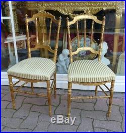 Paire De Chaises De Style Louis XVI En Bois Doré, époque Fin XIX ème