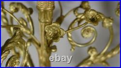 Paire De Chandeliers Candélabres Style Louis XVI En Bronze Doré, Napoléon III