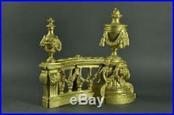 Paire De Chenets De Style Louis XVI En Bronze Doré