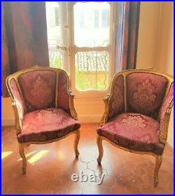 Paire De Fauteuil Bergere Style Louis XVI Baroque En Bois Hetre Dore Tissu Rouge