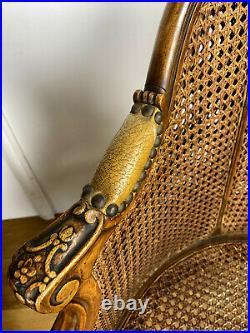 Paire De Fauteuils En Noyer A Double Cannage De Style Louis XV Année 1900