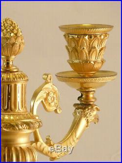 Paire De Flambeaux Deux Lumières Style Louis XVI fin XIXe non pendule clock uhr