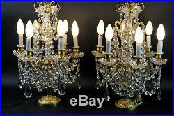 Paire De Girandoles De Style Louis XVI en cristal et bronze doré