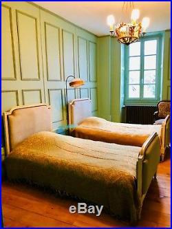 Paire De Lits Jumeaux Style Louis XVI Céladon Sommier Lattes & Matelas Neufs