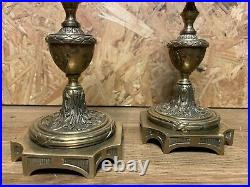Paire Flambeaux Bronze De Style Louis XVI Epoque Napoleon Iii, Xixeme