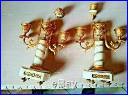Paire à bougeoirs renversés, BRONZE DORE & marbre, style LOUIS XVI candlesticks