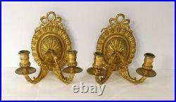 Paire appliques bronze doré décor noeud feuille acanthe style Louis XVI XIX