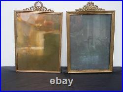 Paire cadres bronze style Louis XVI cadre bronze miroir photo miniature 19eme